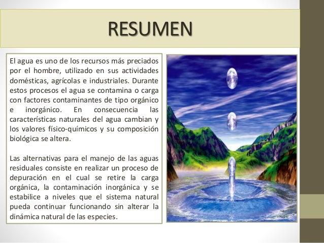 RESUMEN El agua es uno de los recursos más preciados por el hombre, utilizado en sus actividades domésticas, agrícolas e i...