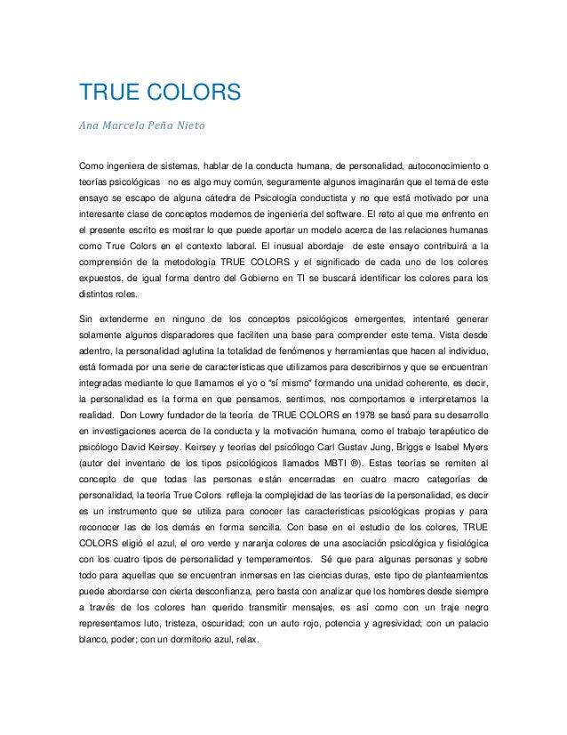 TRUE COLORSAna Marcela Peña NietoComo ingeniera de sistemas, hablar de la conducta humana, de personalidad, autoconocimien...