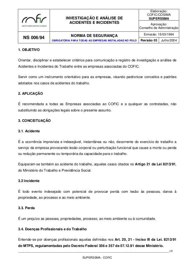 INVESTIGAÇÃO E ANÁLISE DE ACIDENTES E INCIDENTES Elaboração: COFIC/COSIMA SUPERSSMA Aprovação: Conselho de Administração N...