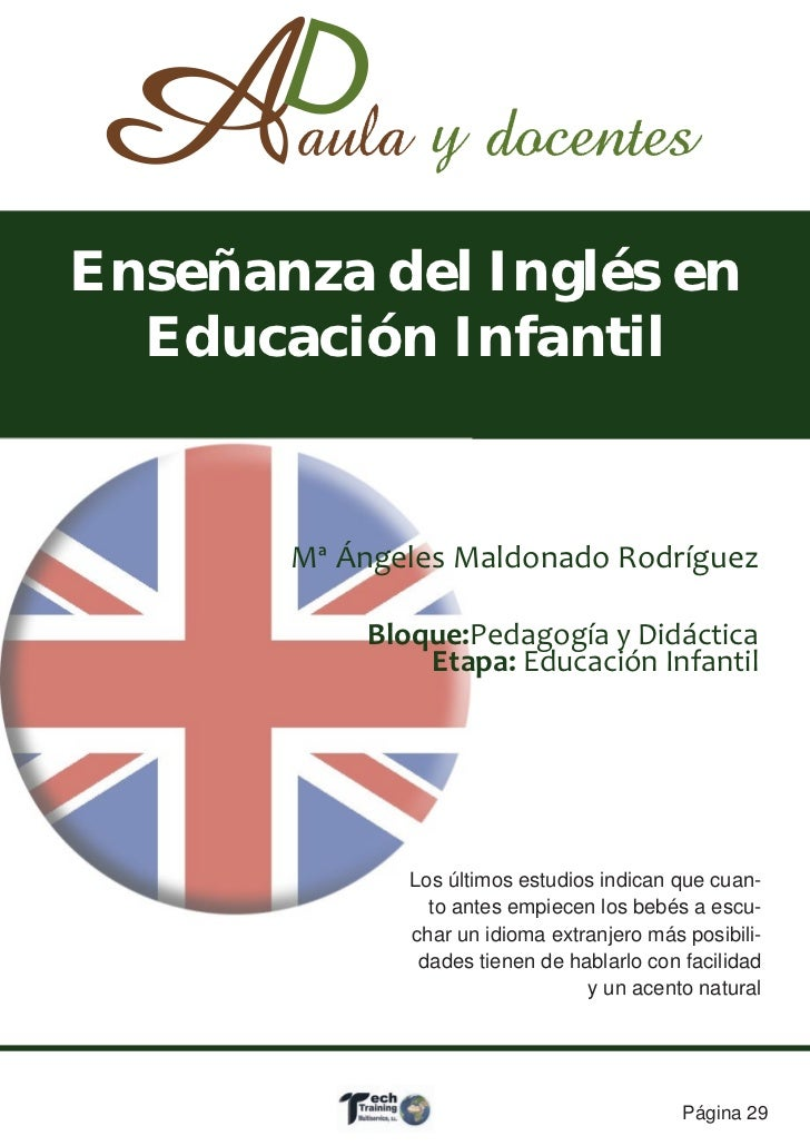 Enseñanza del Inglés en  Educación Infantil       Mª Ángeles Maldonado Rodríguez           Bloque:Pedagogía y Didáctica   ...