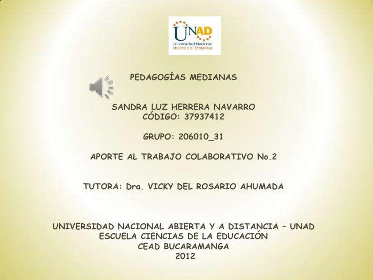 PEDAGOGÍAS MEDIANAS           SANDRA LUZ HERRERA NAVARRO                CÓDIGO: 37937412                GRUPO: 206010_31  ...