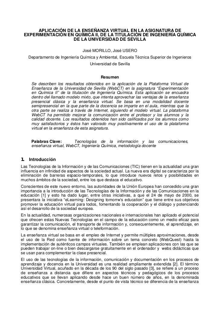 APLICACIÓN DE LA ENSEÑANZA VIRTUAL EN LA ASIGNATURA DE EXPERIMENTACIÓN EN QUÍMICA II, DE LA TITULACIÓN DE INGENIERÍA QUÍMI...