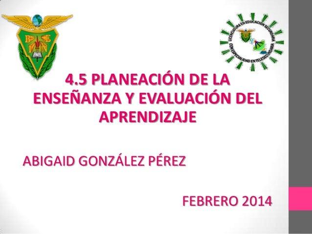 4.5 PLANEACIÓN DE LA ENSEÑANZA Y EVALUACIÓN DEL APRENDIZAJE ABIGAID GONZÁLEZ PÉREZ FEBRERO 2014