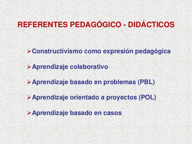 REFERENTES PEDAGÓGICO - DIDÁCTICOS      Constructivismo como expresión pedagógica     Aprendizaje colaborativo     Aprendi...