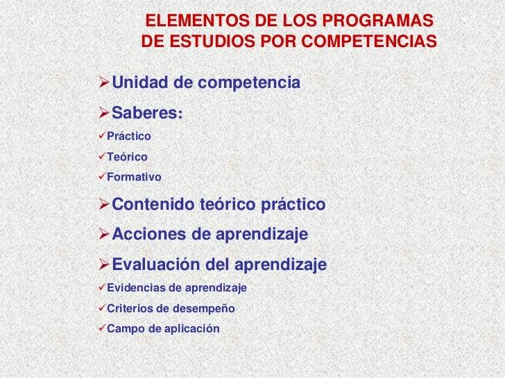 ELEMENTOS DE LOS PROGRAMAS       DE ESTUDIOS POR COMPETENCIAS  Unidad de competencia Saberes: Práctico Teórico Formativo  ...
