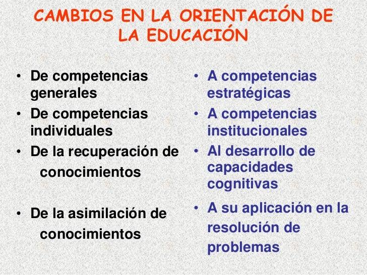 CAMBIOS EN LA ORIENTACIÓN DE           LA EDUCACIÓN  • De competencias         • A competencias   generales               ...