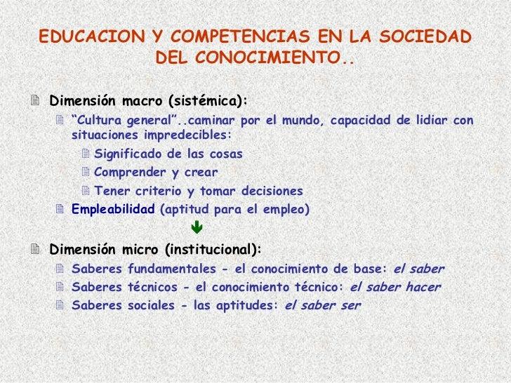 """EDUCACION Y COMPETENCIAS EN LA SOCIEDAD           DEL CONOCIMIENTO..  Dimensión macro (sistémica):    """"Cultura general""""..c..."""