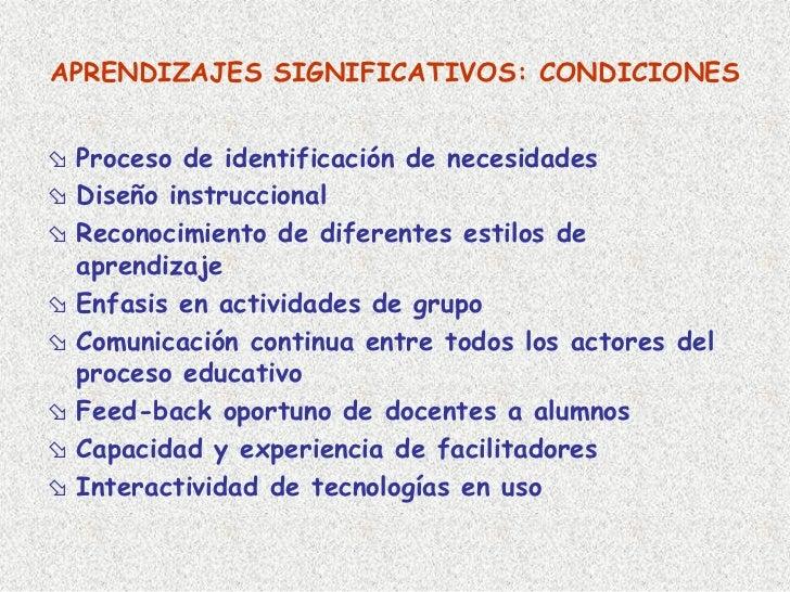 APRENDIZAJES SIGNIFICATIVOS: CONDICIONES    Proceso de identificación de necesidades  Diseño instruccional  Reconocimiento...