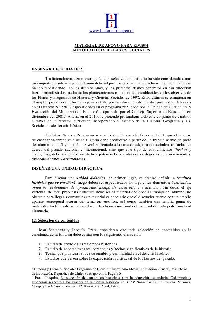 www.historia1imagen.cl                             MATERIAL DE APOYO PARA EDU594                           METODOLOGIA DE ...