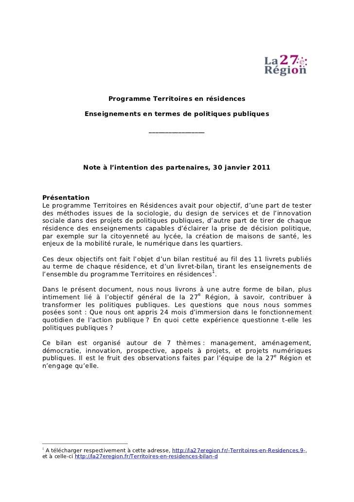 Programme Territoires en résidences               Enseignements en termes de politiques publiques                         ...