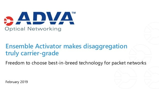 February 2019 Freedom to choose best-in-breed technology for packet networks Ensemble Activator makes disaggregation truly...