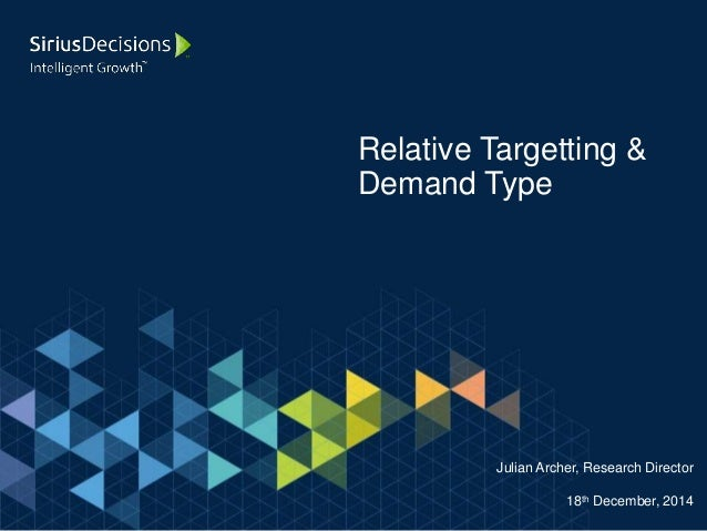 Relative Targetting & Demand Type Julian Archer, Research Director 18th December, 2014
