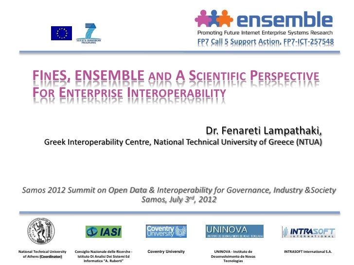 FP7 Call 5 Support Action, FP7-ICT-257548        FINES, ENSEMBLE AND A SCIENTIFIC PERSPECTIVE        FOR ENTERPRISE INTERO...