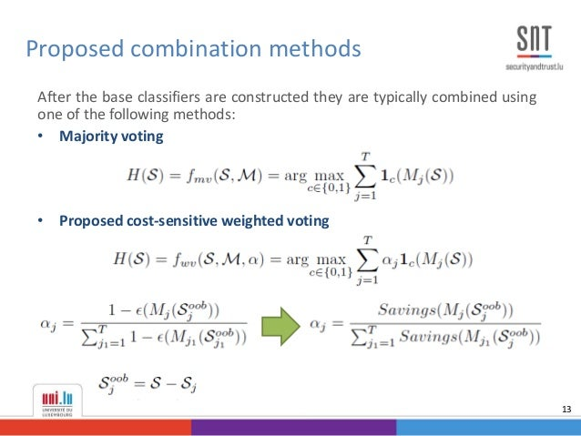 After the base classifiers are constructed they are typically combined using one of the following methods: • Majority voti...