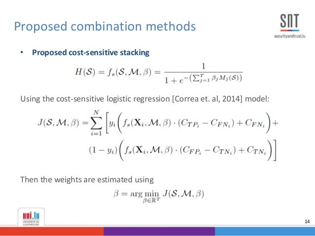 • Proposed cost-sensitive stacking Using the cost-sensitive logistic regression [Correa et. al, 2014] model: Then the weig...