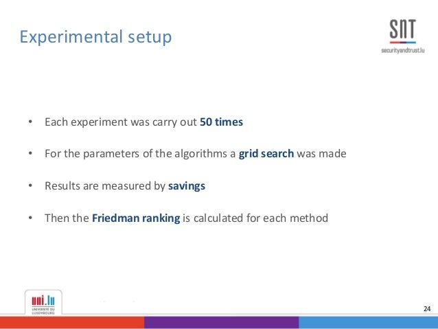 • Each experiment was carry out 50 times • For the parameters of the algorithms a grid search was made • Results are measu...