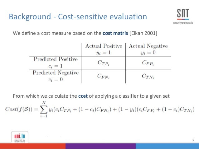 We define a cost measure based on the cost matrix [Elkan 2001] From which we calculate the cost of applying a classifier t...