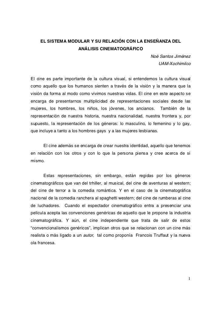 EL SISTEMA MODULAR Y SU RELACIÓN CON LA ENSEÑANZA DEL                         ANÁLISIS CINEMATOGRÁFICO                    ...