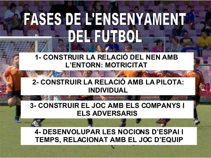 FASES DE L'ENSENYAMENT DEL FUTBOL 1- CONSTRUIR LA RELACIÓ DEL NEN AMB L'ENTORN: MOTRICITAT 2- CONSTRUIR LA RELACIÓ AMB LA ...
