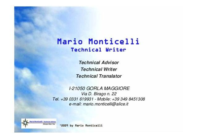 '2009 by Mario Monticelli Mario Monticelli Technical Writer Technical Advisor Technical Writer Technical Translator I-2105...