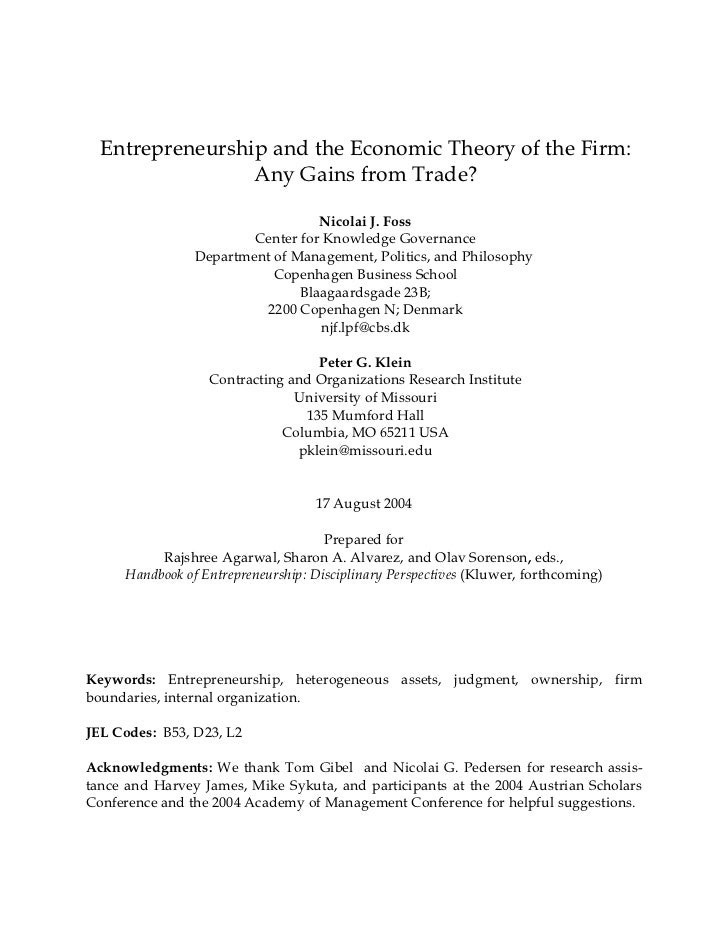 Entrepreneurship and the Economic Theory of the Firm:                 Any Gains from Trade?                               ...