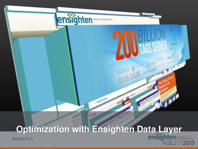 Optimization with Ensighten Data Layer       #agility20131 | Ensighten - Confidential, All Rights Reserved.