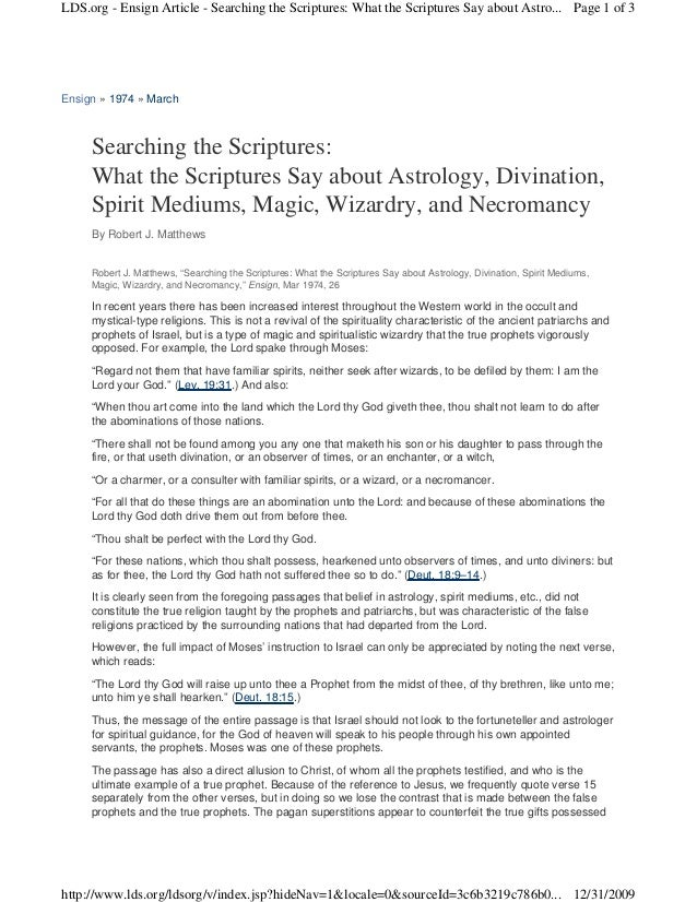 LDS.org - Ensign Article - Searching the Scriptures: What the Scriptures Say about Astro... Page 1 of 3Ensign » 1974 » Mar...