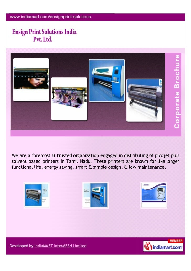 We are a foremost & trusted organization engaged in distributing of picojet plussolvent based printers in Tamil Nadu. Thes...