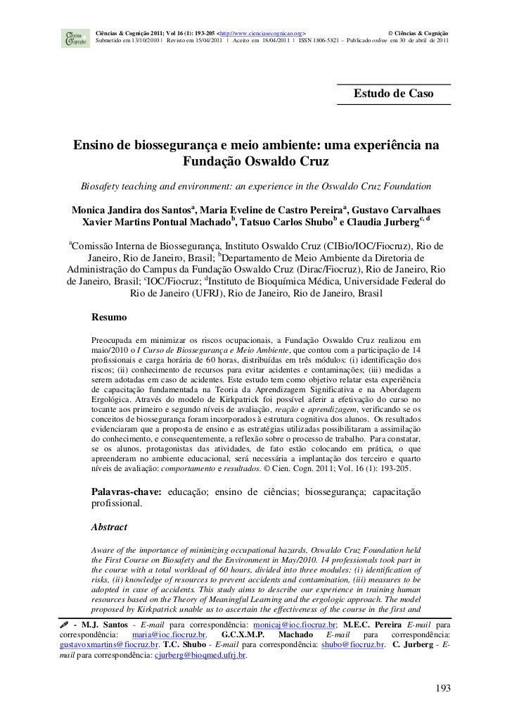 Ciências & Cognição 2011; Vol 16 (1): 193-205 <http://www.cienciasecognicao.org>                          © Ciências & Cog...