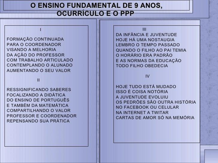 O ENSINO FUNDAMENTAL DE 9 ANOS,              OCURRÍCULO E O PPP               I                      III                  ...