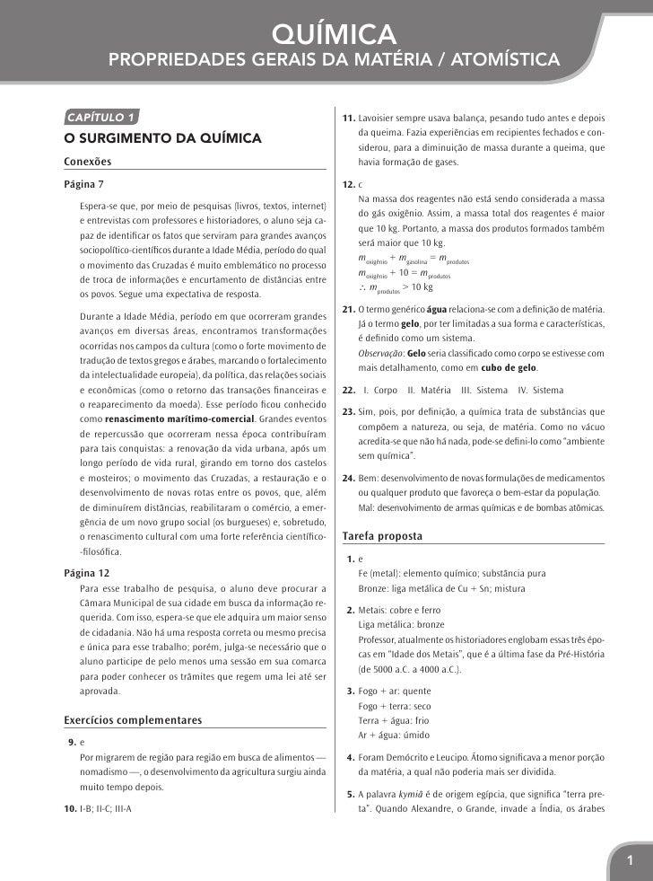 Química             Propriedades gerais da matéria / AtomísticaCapítulo 1                                                 ...