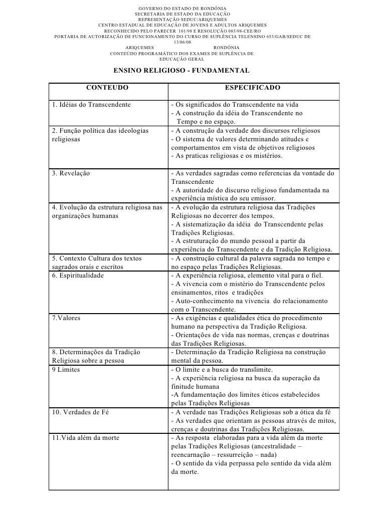 GOVERNO DO ESTADO DE RONDÔNIA                             SECRETARIA DE ESTADO DA EDUCAÇÃO                              RE...
