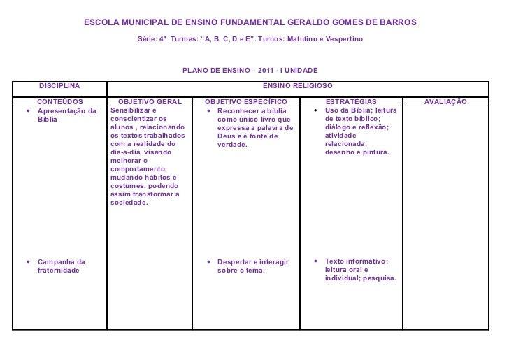 """ESCOLA MUNICIPAL DE ENSINO FUNDAMENTAL GERALDO GOMES DE BARROS                             Série: 4ª Turmas: """"A, B, C, D e..."""