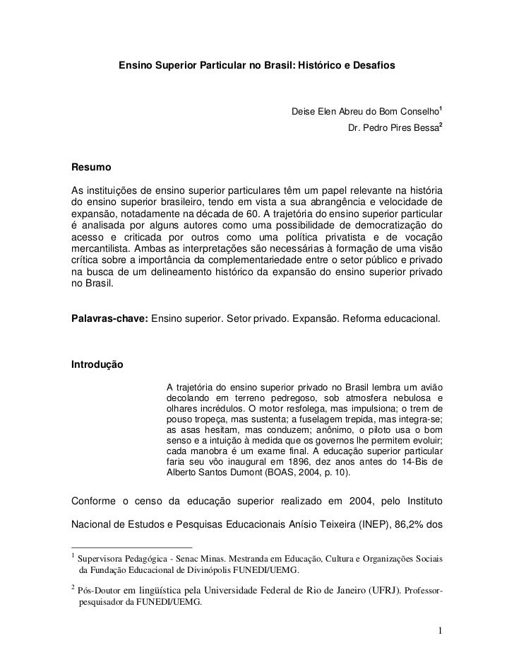 Ensino Superior Particular no Brasil: Histórico e Desafios                                                         Deise E...