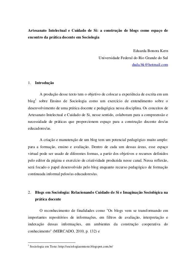Artesanato Intelectual e Cuidado de Si: a construção de blogs como espaço de encontro da prática docente em Sociologia Edu...