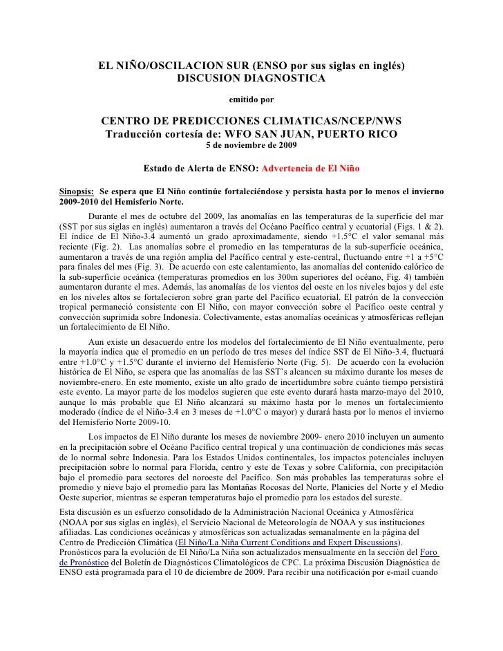 EL NIÑO/OSCILACION SUR (ENSO por sus siglas en inglés)                       DISCUSION DIAGNOSTICA                        ...