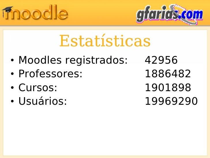 Estatísticas •   Moodles registrados:   42956 •   Professores:           1886482 •   Cursos:                1901898 •   Us...