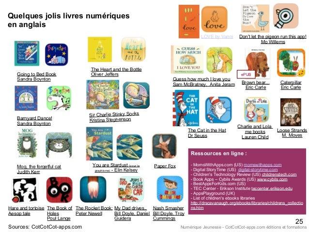 Quelques jolis livres numériques en anglais Sources: CotCotCot-apps.com Going to Bed Book Sandra Boynton Barnyard Dance! S...
