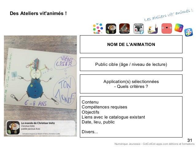 Des Ateliers vit'animés ! 3131 NOM DE L'ANIMATION Public cible (âge / niveau de lecture) Application(s) sélectionnées - Qu...