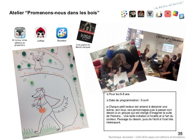 """Atelier """"Promenons-nous dans les bois"""" 3535 Numérique Jeunesse - CotCotCot-apps.com éditions et formations Brushes ם Pou..."""