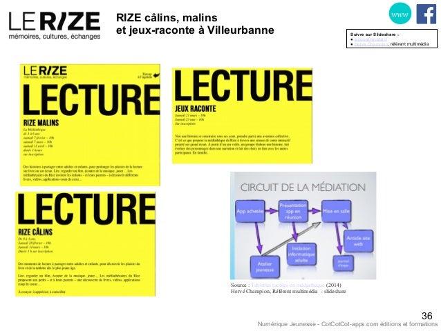 RIZE câlins, malins et jeux-raconte à Villeurbanne 36 www Source : Tablettes tactiles en médiathèque (2014) Hervé Champion...