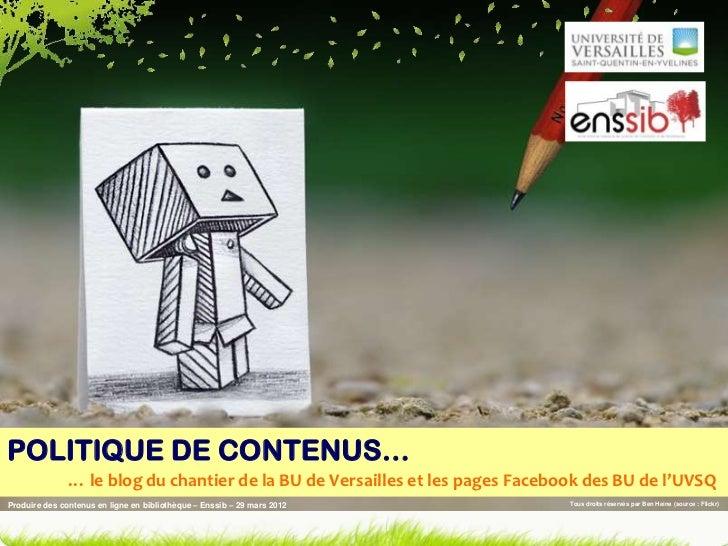 POLITIQUE DE CONTENUS…               … le blog du chantier de la BU de Versailles et les pages Facebook des BU de l'UVSQPr...