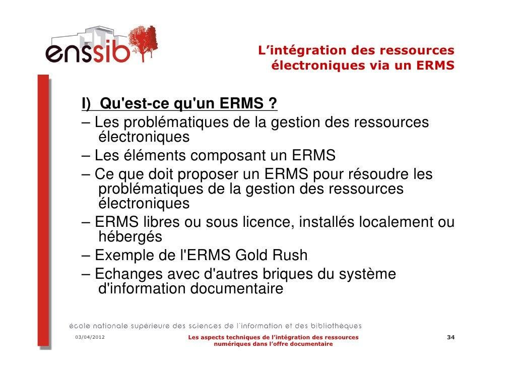 03/04/2012   Les aspects techniques de l'intégration des ressources   42                     numériques dans l'offre docum...