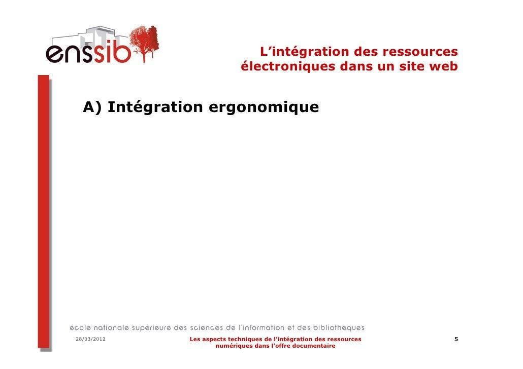 L'intégration des ressources                             électroniques dans un site web  A) Intégration ergonomique28/03/2...