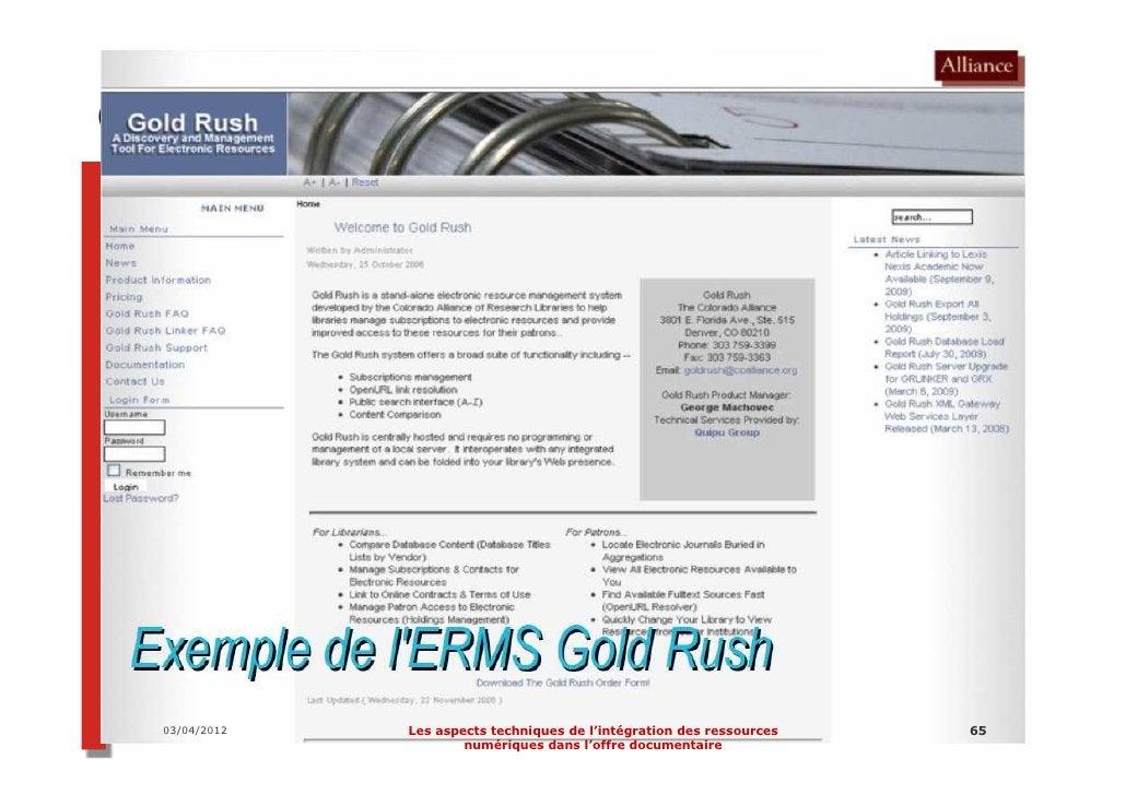 Le projet d'ERMS                  partagé :             pour quoi faire ?03/04/2012      Les aspects techniques de l'intég...