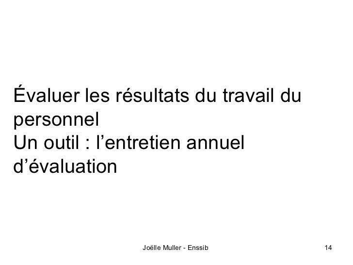 Évaluer les résultats du travail dupersonnelUn outil : l'entretien annueld'évaluation               Joëlle Muller - Enssib...