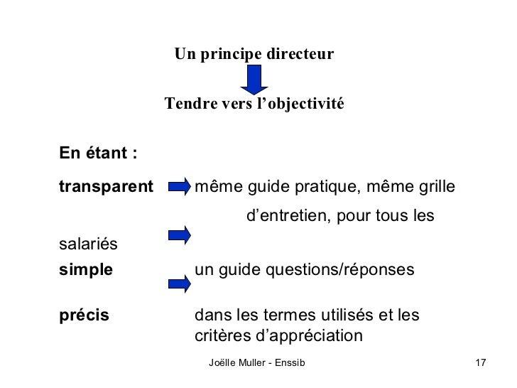 Un principe directeur              Tendre vers l'objectivitéEn étant :transparent       même guide pratique, même grille  ...
