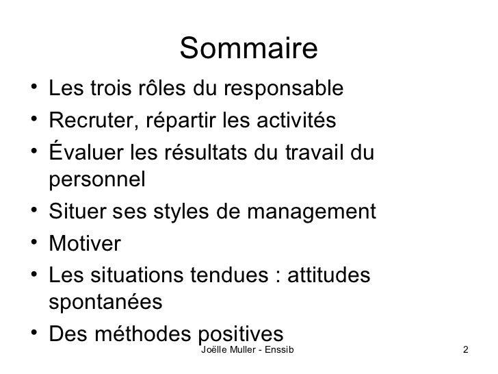 Sommaire• Les trois rôles du responsable• Recruter, répartir les activités• Évaluer les résultats du travail du  personnel...