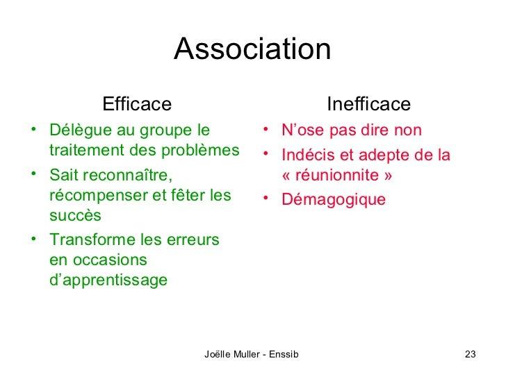 Association        Efficace                              Inefficace• Délègue au groupe le            • N'ose pas dire non ...
