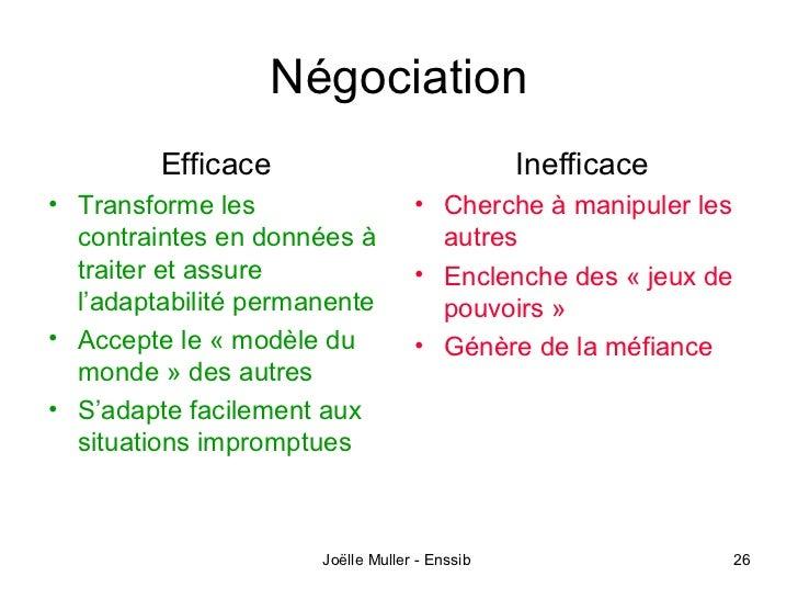 Négociation         Efficace                              Inefficace• Transforme les                   • Cherche à manipul...
